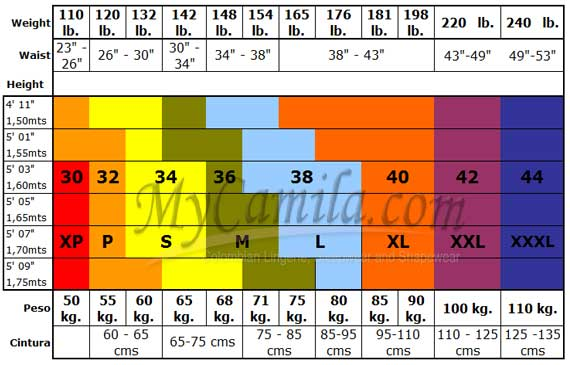 Vedette Size Chart